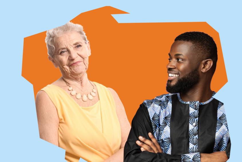 Seniorzy prowadzą językowe konwersacje